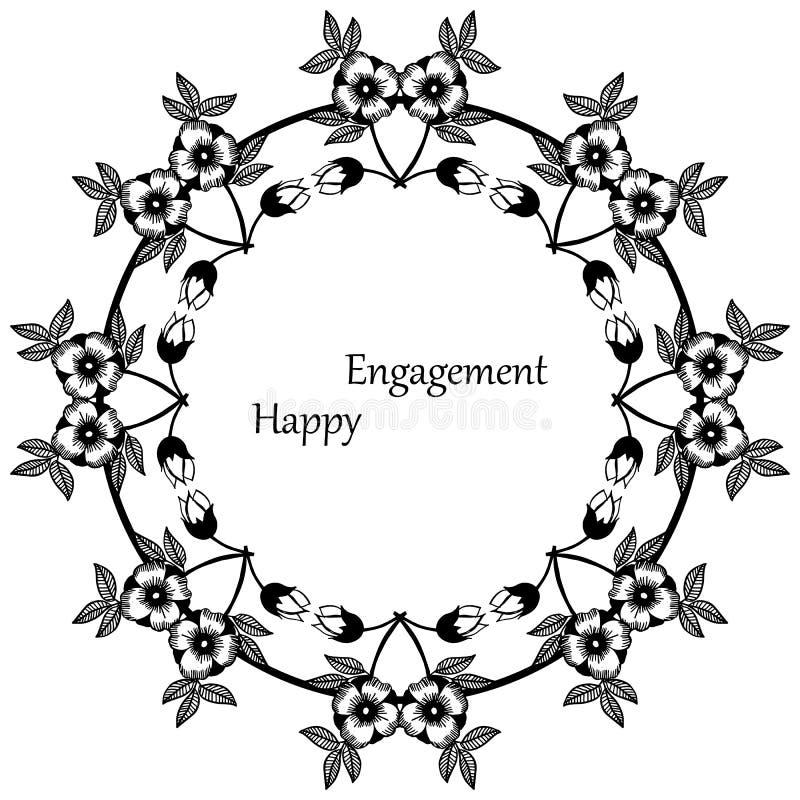 Impegno felice della carta della decorazione, varia struttura floreale unica Vettore royalty illustrazione gratis