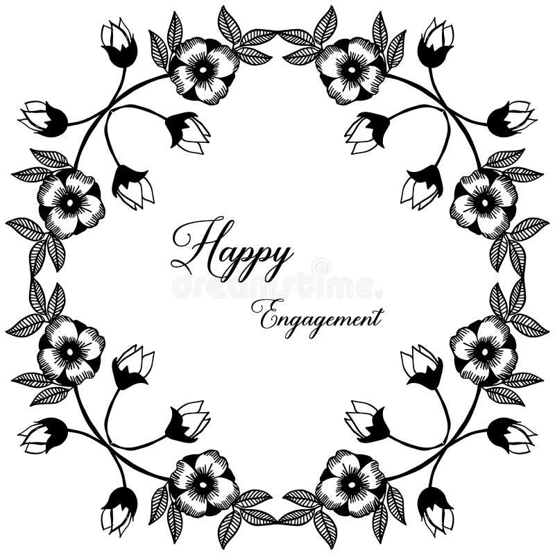 Impegno felice della carta della decorazione, varia struttura floreale unica Vettore illustrazione vettoriale