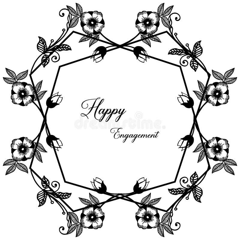 Impegno felice della carta della decorazione, varia struttura floreale unica Vettore illustrazione di stock