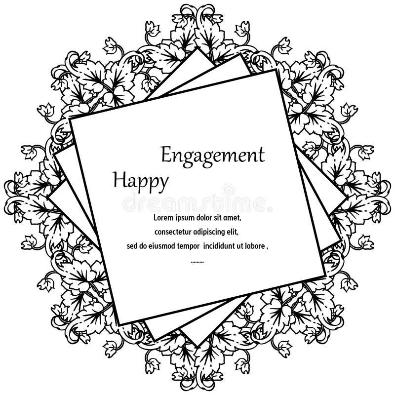Impegno felice della carta di progettazione, struttura elegante del fiore, isolata su un contesto bianco Vettore royalty illustrazione gratis