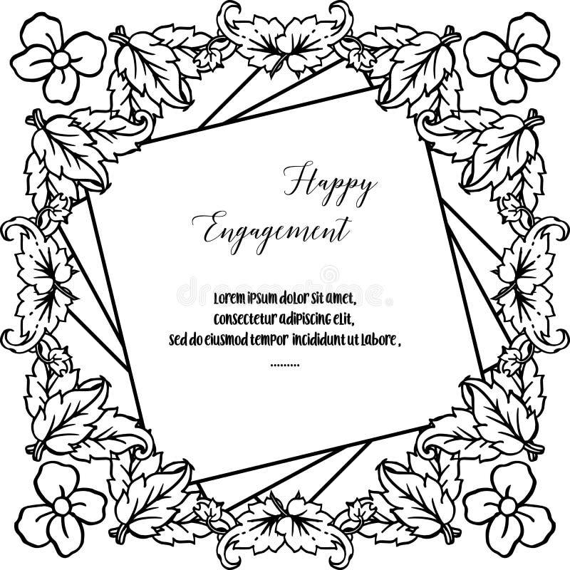 Impegno felice della carta di progettazione, struttura elegante del fiore, isolata su un contesto bianco Vettore illustrazione di stock