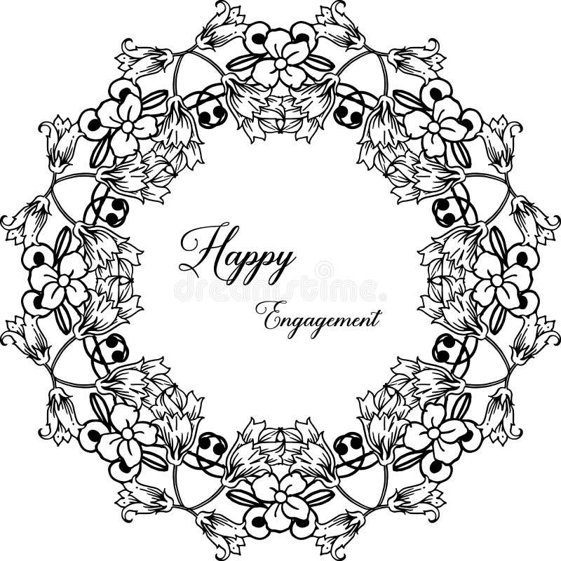 Impegno felice della carta di progettazione, struttura elegante del fiore, isolata su un contesto bianco Vettore illustrazione vettoriale