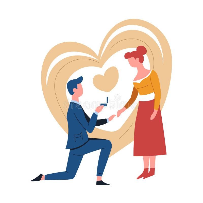 Impegno o uomo delle coppie di proposta ed anello romantici della donna illustrazione vettoriale