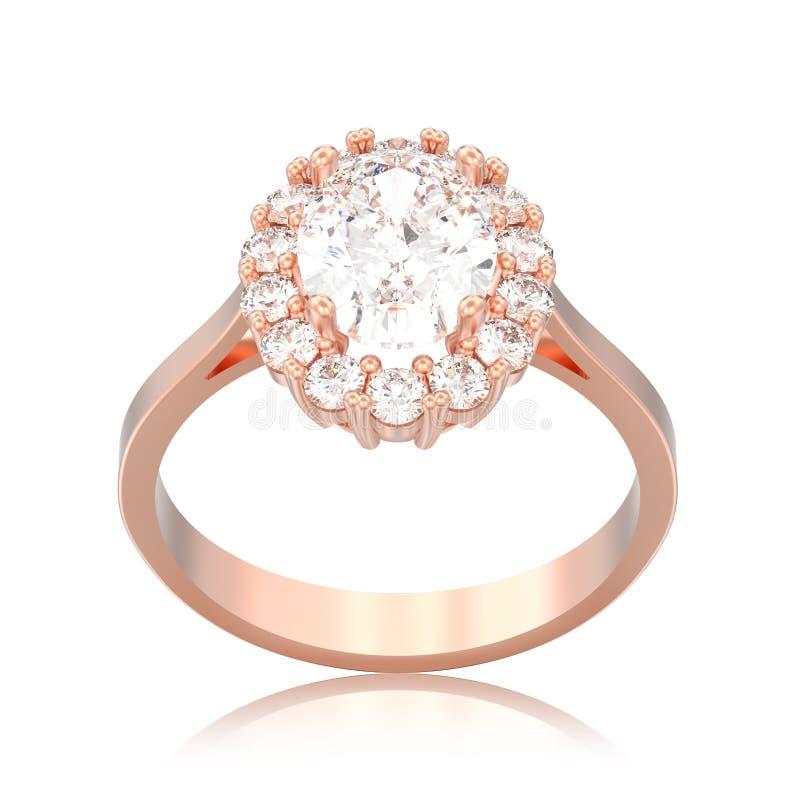 impegno ovale del diamante di alone dell'oro rosa isolato illustrazione 3D royalty illustrazione gratis