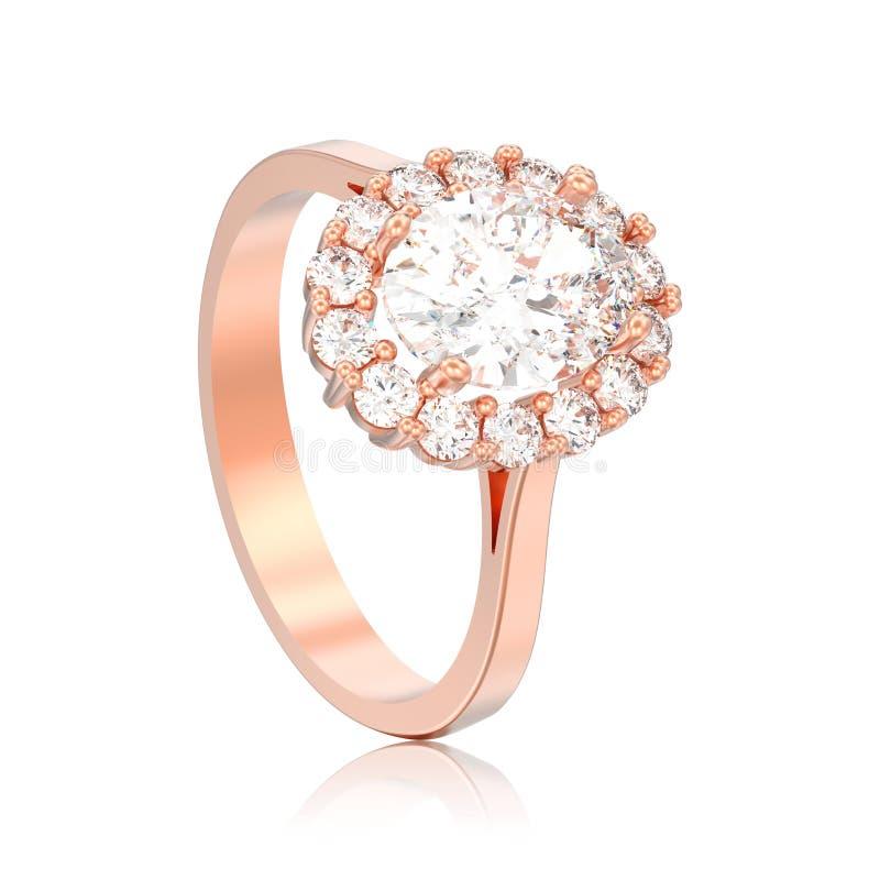 impegno ovale del diamante di alone dell'oro rosa isolato illustrazione 3D illustrazione di stock