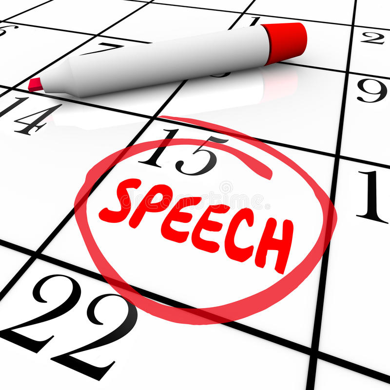 Impegno parlante importante Remin del calendario circondato data di discorso illustrazione vettoriale