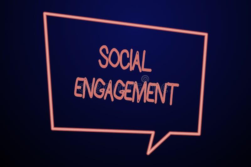 Impegno sociale del testo di scrittura di parola Concetto di affari per il grado di impegno in comunità in linea o una società vu royalty illustrazione gratis