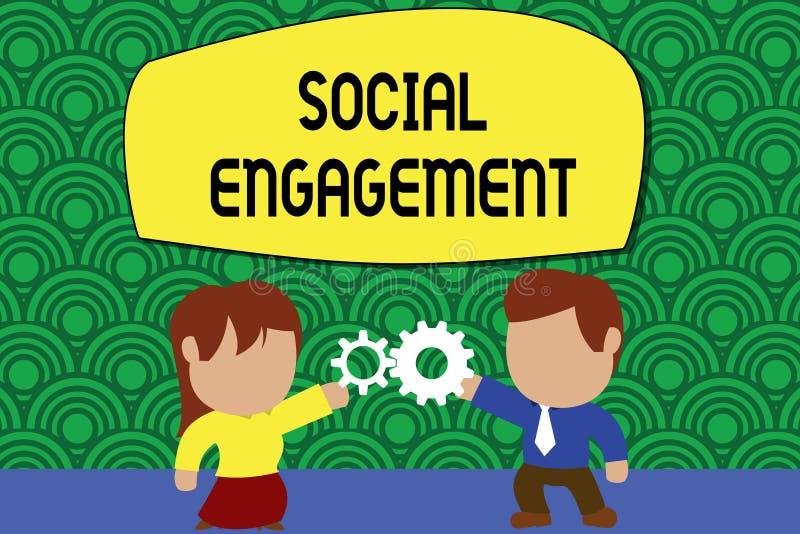 Impegno sociale del testo di scrittura di parola Concetto di affari per il grado di impegno in comunit? in linea o una societ? illustrazione vettoriale