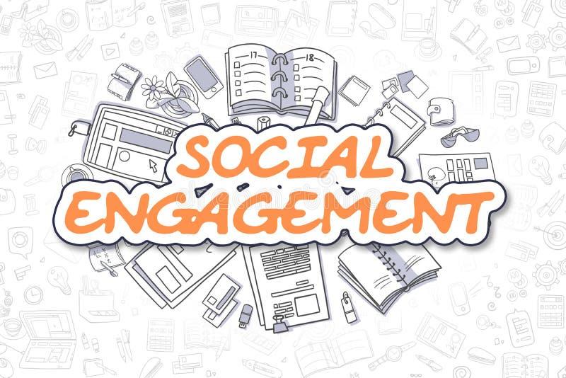 Impegno sociale - testo dell'arancia di scarabocchio Concetto di affari illustrazione di stock