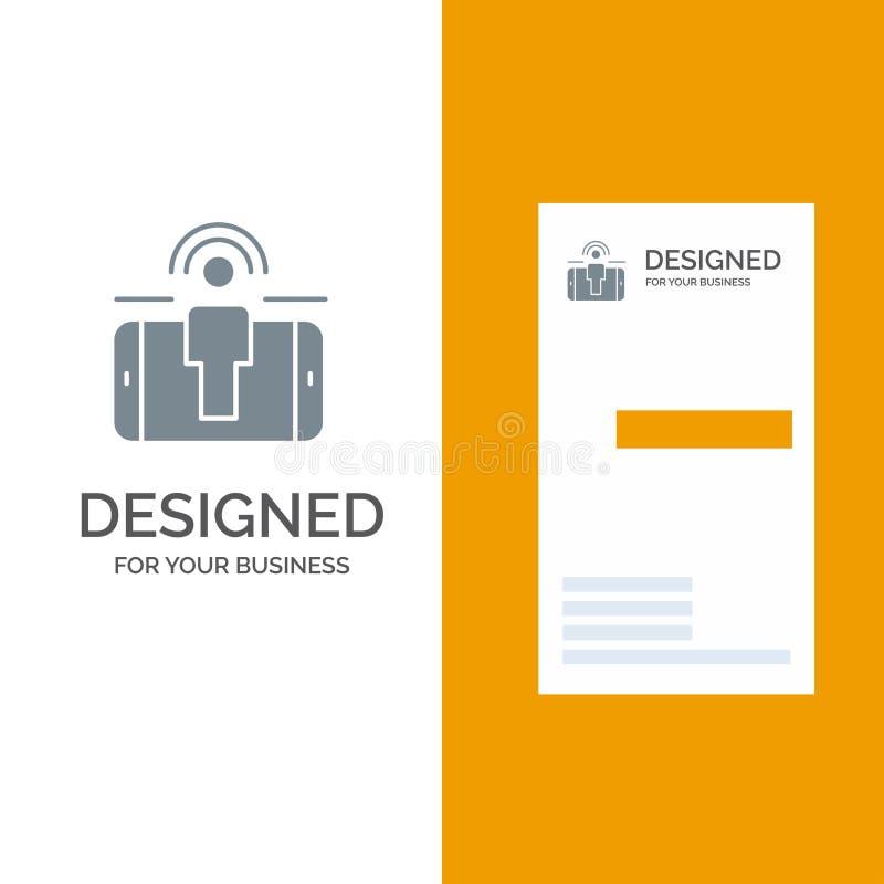 Impegno, utente, impegno dell'utente, vendita Grey Logo Design e modello del biglietto da visita illustrazione di stock