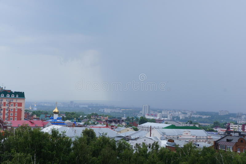 The impending weather front in the city centre of Ulyanovsk stock images