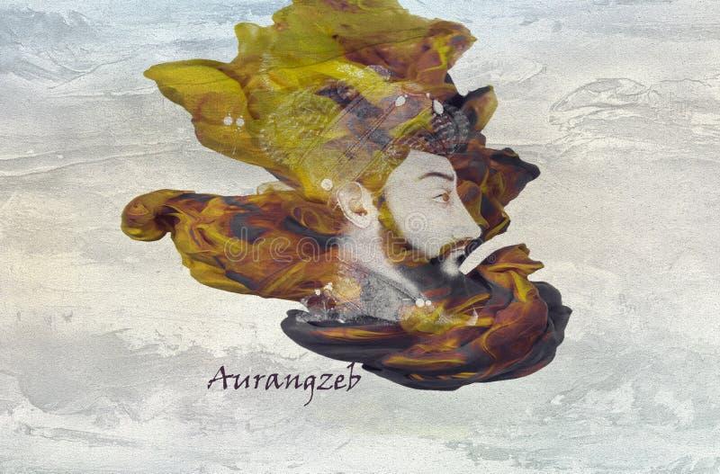 Imperador Aurangzeb de Mughal ilustração royalty free