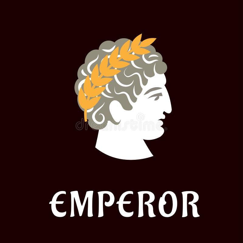 Imperador romano Julius Caesar na grinalda ilustração stock