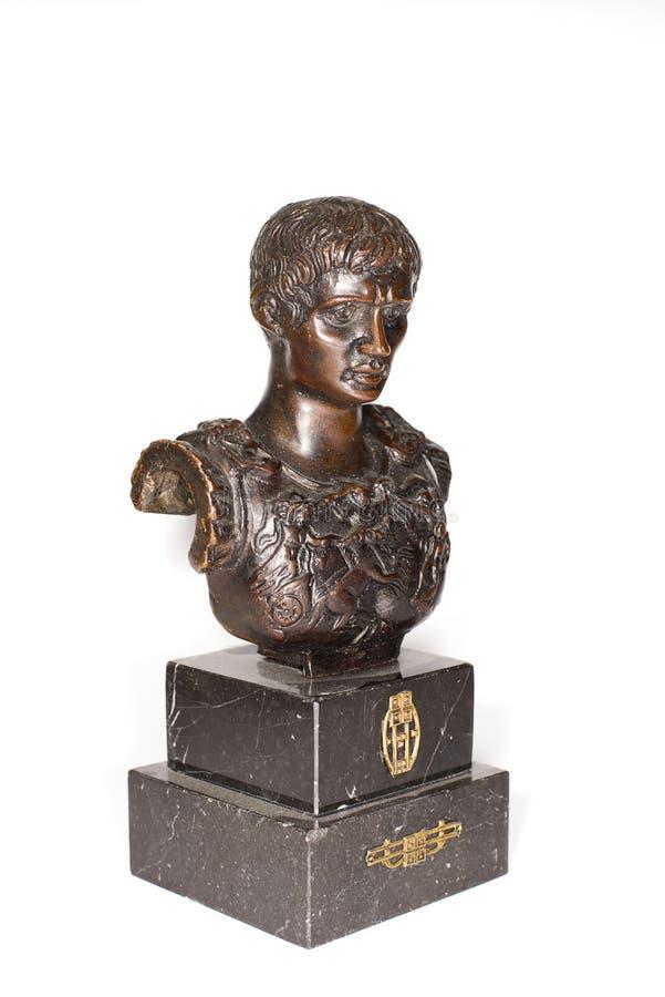 Imperador romano Octavianus Augustus em um fundo branco imagens de stock