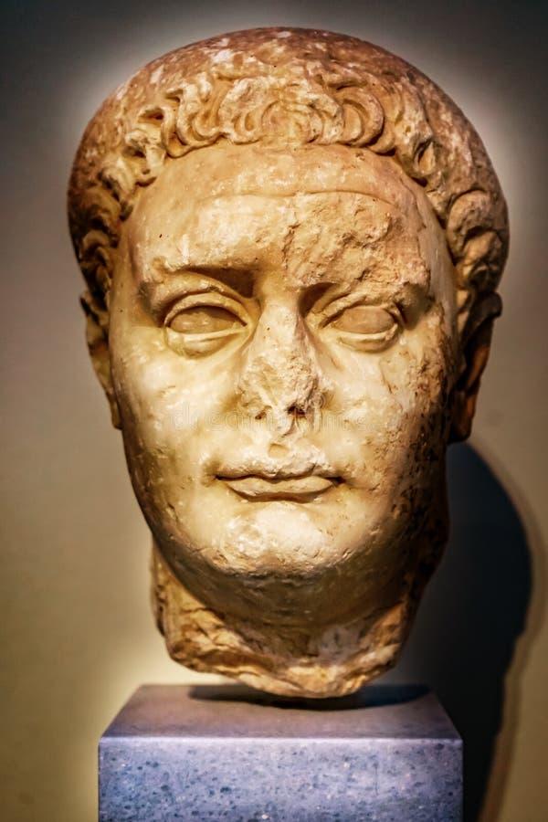 Imperatore Domitian Statue National Archaeological Museum Atene Gr fotografie stock
