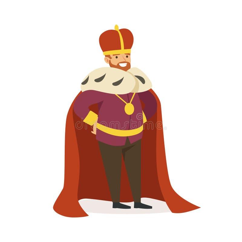 Imperatore maestoso nel manto rosso dell'ermellino, nella favola o nell'illustrazione variopinta di vettore del carattere medieva illustrazione di stock