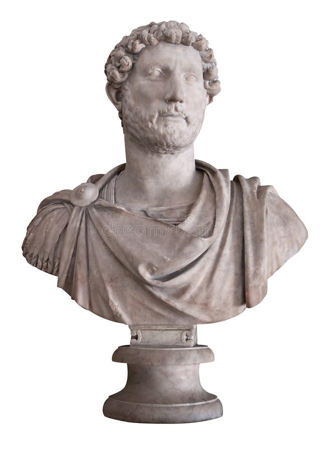 Imperatore romano Hadrian isolato sul whi immagine stock