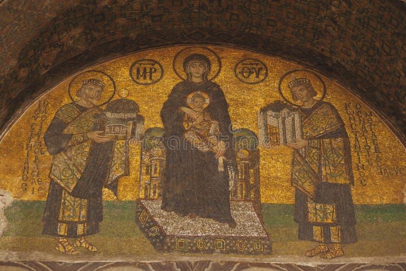 Imperatori che presentano Costantinopoli a Maria, tenente il bambino di Cristo immagine stock libera da diritti