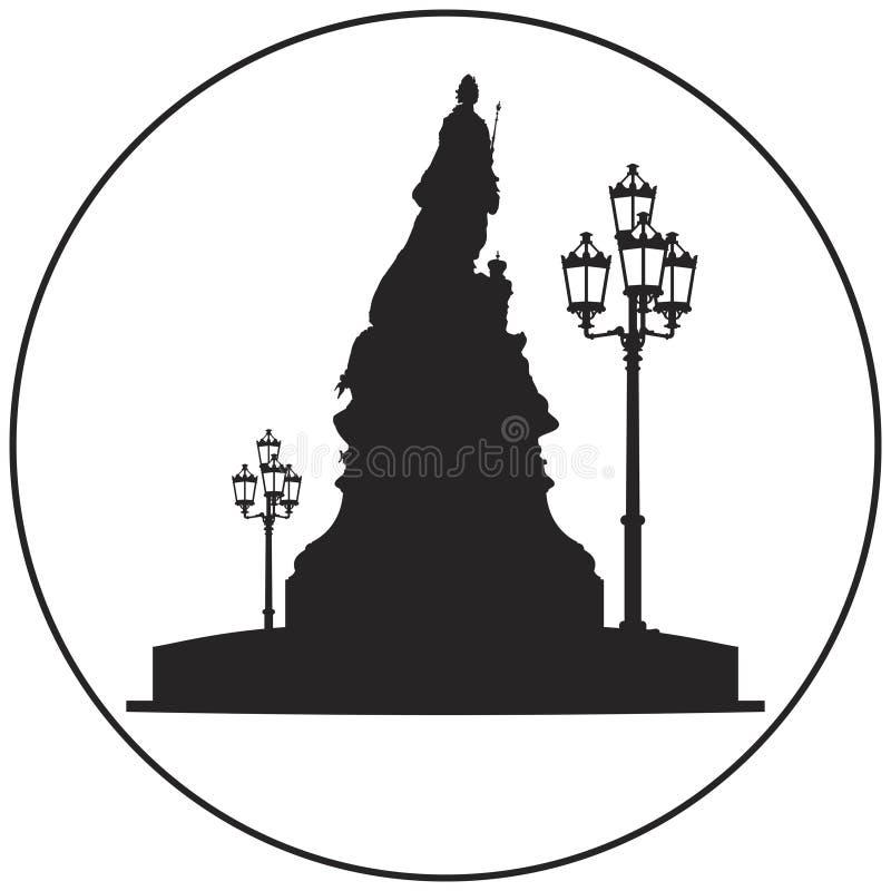 Imperatrice Catherine II la grande icona di vettore del monumento illustrazione vettoriale