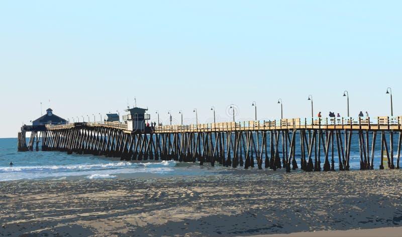 Imperiału Plażowy molo, Kalifornia z Posterized skutkiem obrazy royalty free