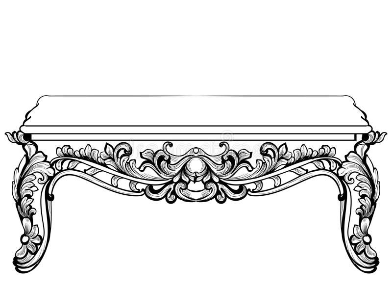 Imperial Baroque Console Table. French Luxury carved ornaments decorated table furniture. Vector Victorian Royal Style. S vector illustration