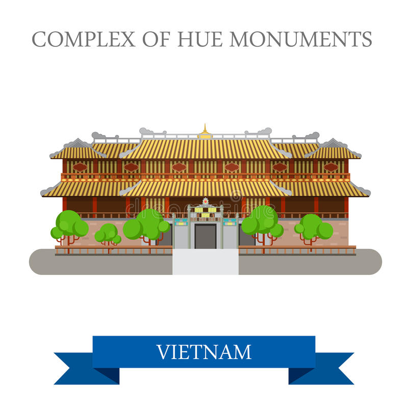 Imperial City aka Complex of Hue Monuments in Vietnam attraction. Imperial City aka Complex of Hue Monuments in Vietnam. Flat cartoon style historic sight royalty free illustration