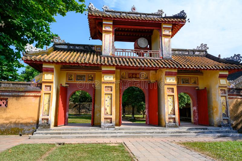 Imperial City Hue, Vietnam Gate of the Forbidden City of Hue. stock photography