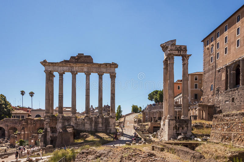 Imperial fora. Rome, Italy. Temple of Saturn at Imperial fora royalty free stock images