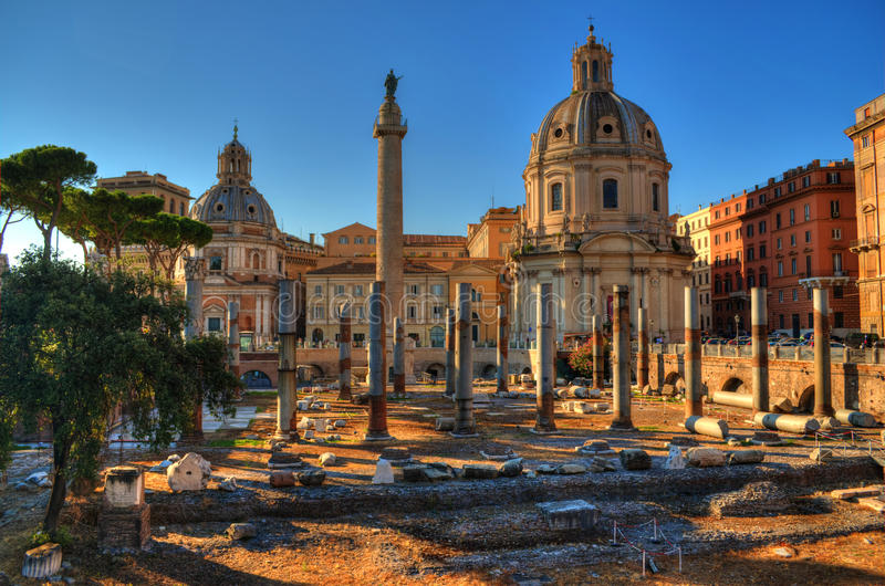 Imperial Forum and Trajan columns in Rome royalty free stock photos