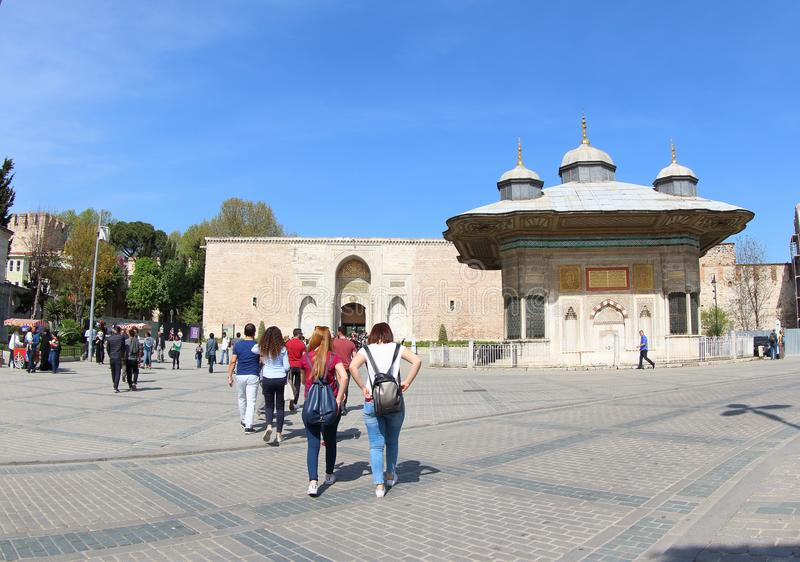 The Imperial Gate of Topkapi Palace and The Fountain royalty free stock images