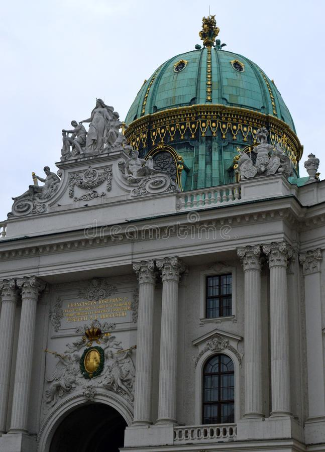 Hofburg Palace St Michael`s Wing dome detail Vienna royalty free stock image