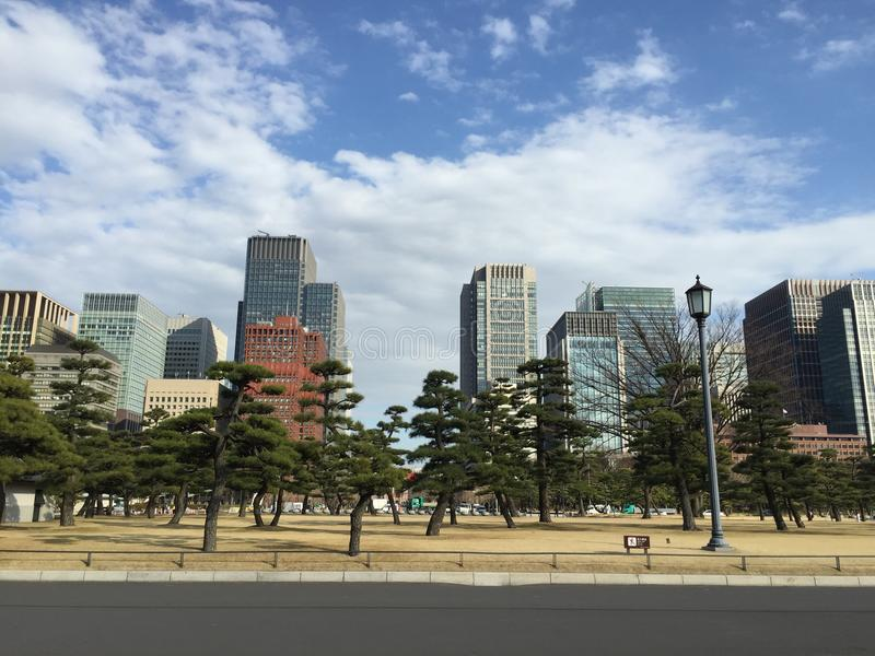 Imperial palace, east garden, tokyo city, metropolitan. Is located on the former site of Edo Castle, a large park area surrounded by moats and massive stone stock image