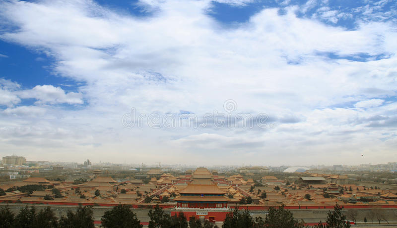 The Imperial Palace Panorama. The Palace Museum is the imperial palace of ancient Chinese emperors royalty free stock photography