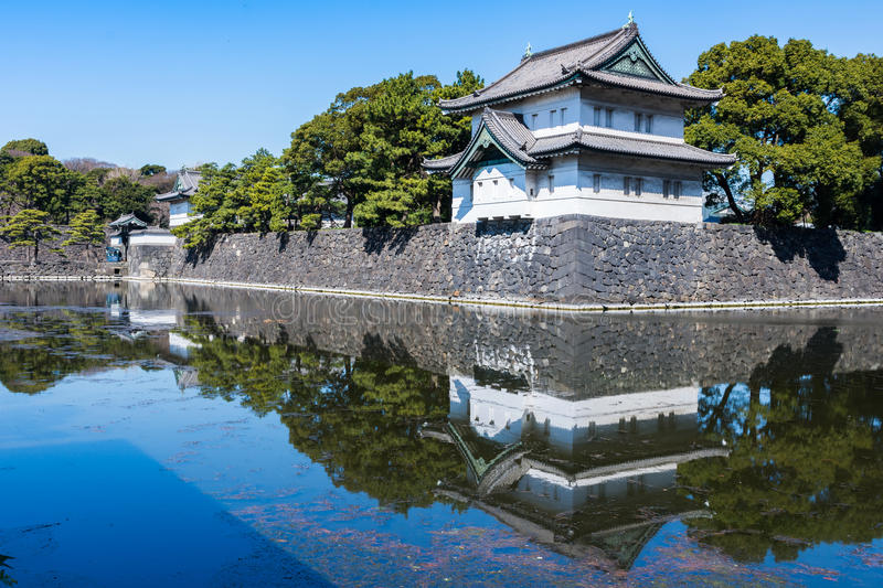 Imperial Palace Park in Tokyo. Reflecting on water surface royalty free stock image