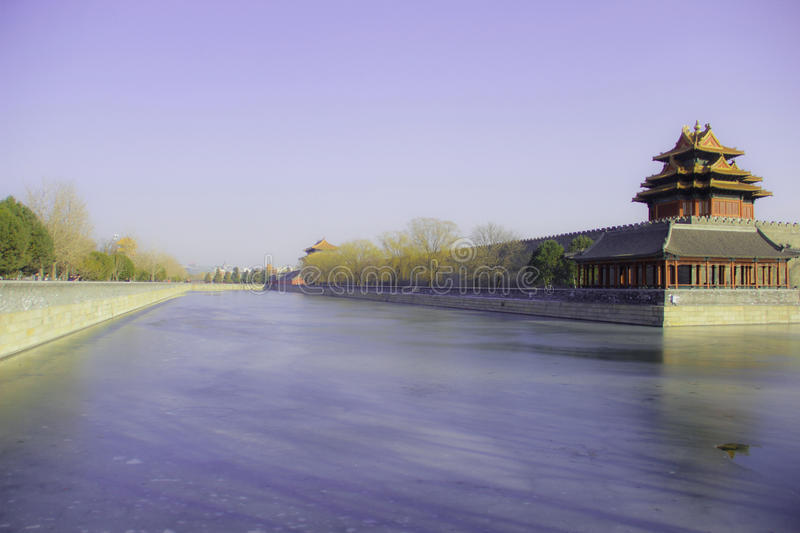 The Imperial Palace under the blue sky and white clouds, China. Yellow;red;ps;beautiful;much;Blue The Imperial Palace under the blue sky and white stock photo