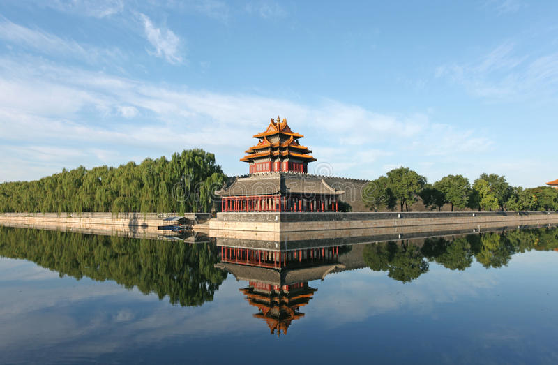 The imperial palace watchtower. The imperial palace embrasured watchtower,Beijing China. Watchtower in the Forbidden city royalty free stock photography