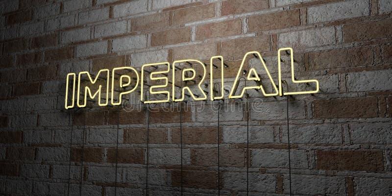 IMPERIAL - Sinal de néon de incandescência na parede da alvenaria - 3D rendeu a ilustração conservada em estoque livre dos direit ilustração stock