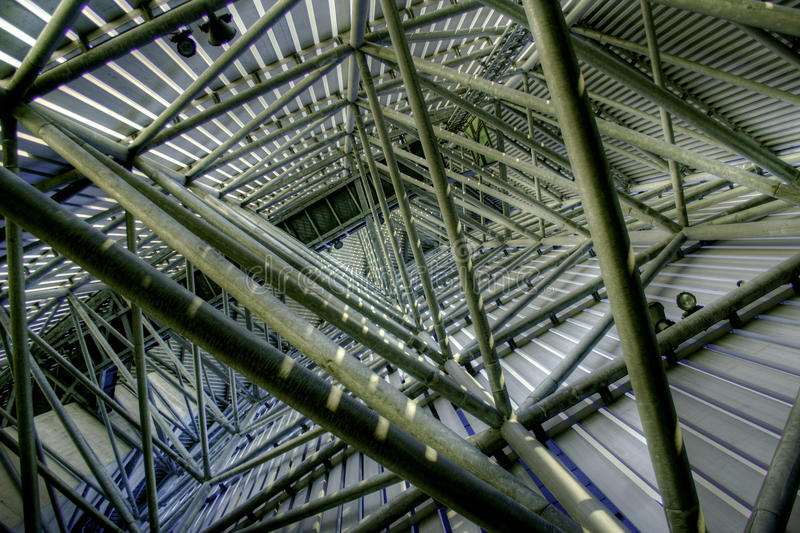 Imperial War Museum Stairwell. Looking upwards inside the stairwell scaffolding of the Imperial War Museum at Salford Quays - it's a long, hard climb to the top stock photo
