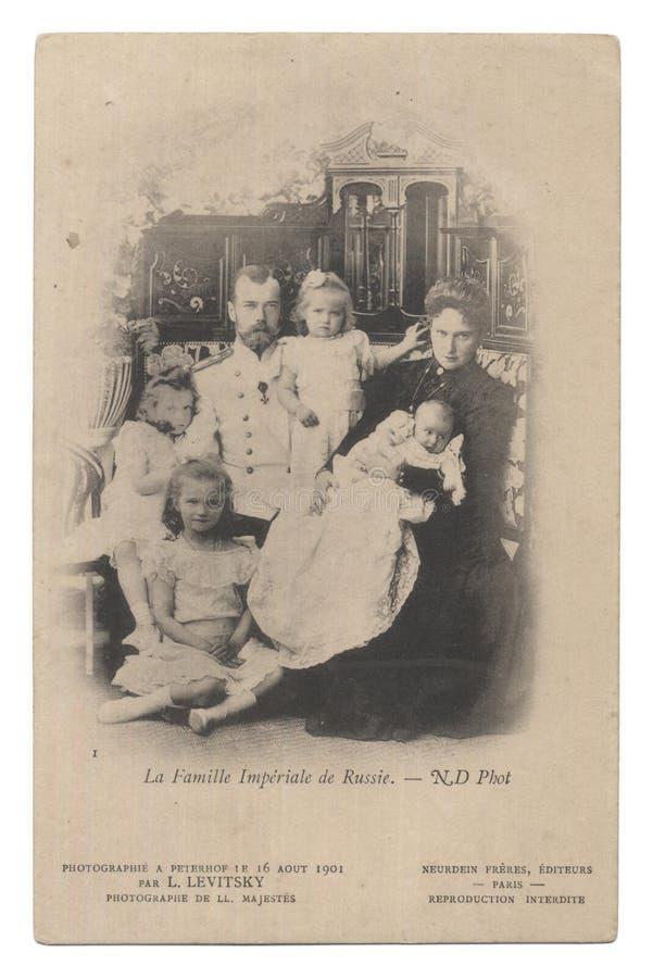 imperialistisk gammal postryss för kortfamilj royaltyfri fotografi