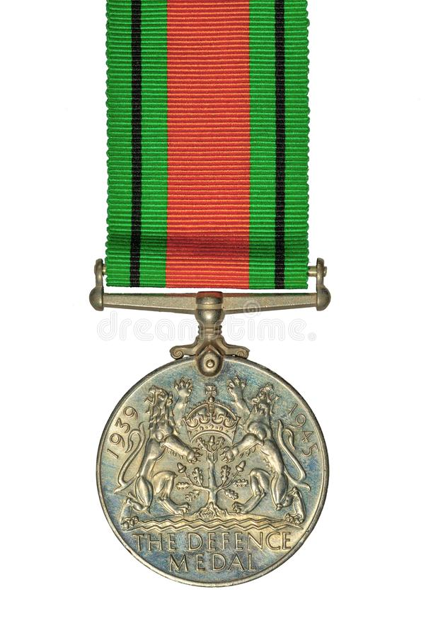 Imperium Brytyjskiego WW 2 Defence medal, odizolowywający na bielu obrazy stock