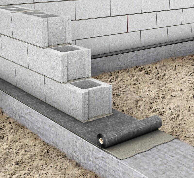 Imperméabilisation horizontale en construisant une maison imperméabilisation sur le dessus de la base 3d photos stock