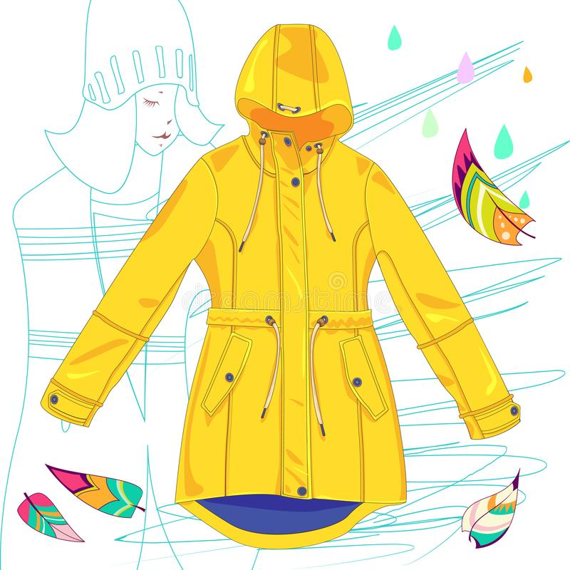 Impermeable amarillo del vector en el fondo blanco libre illustration