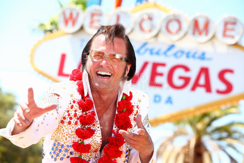 Impersonator van Vegas Elvis van Las royalty-vrije stock foto's
