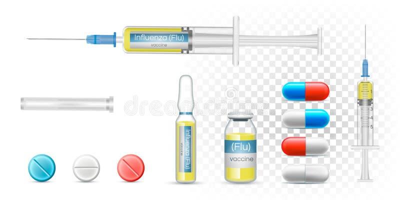 Impfgrippegrippe in einer Spritze Realistische pharmazeutische Kapseln des Vektors, transparente Flasche und Ampulle lizenzfreie abbildung