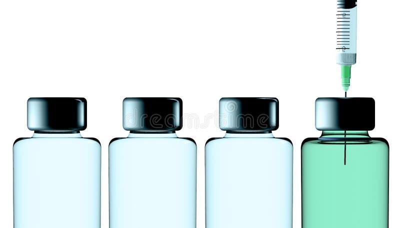 Impfstoff, Schutzkampagne, Gesundheit Krankheiten und Heilungen Wiedergabe 3d Spritze und Lösung in der Flasche vektor abbildung
