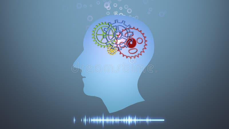 Impianti di cervello, intelligenza artificiale AI e concetto di alta tecnologia illustrazione di stock