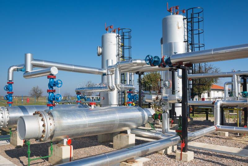 Impianto di lavorazione del gas e del petrolio fotografie stock