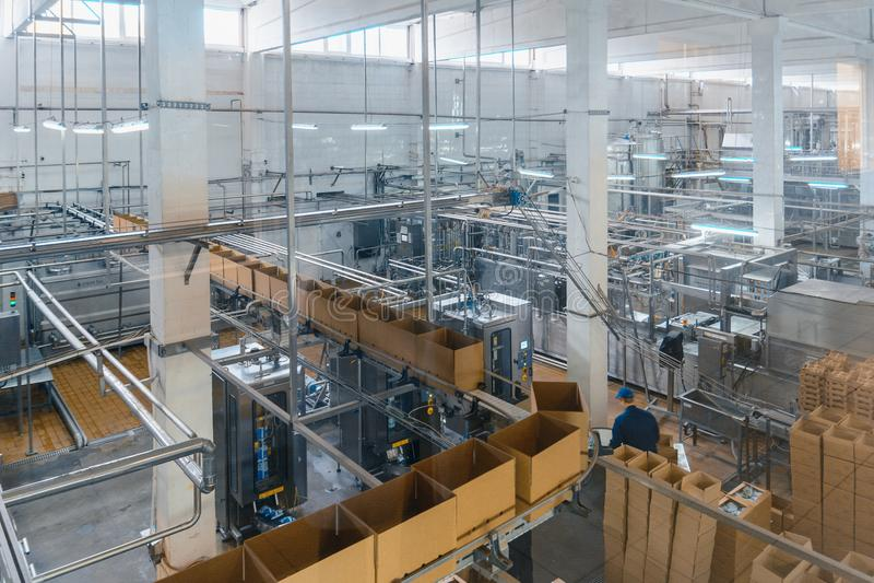 Impianto di produzione del formaggio e del latte immagini stock