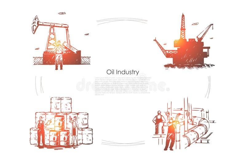 Impianto di produzione, lavoratori alla conduttura, attrezzatura industriale, piattaforma di perforazione, impianto di perforazio royalty illustrazione gratis