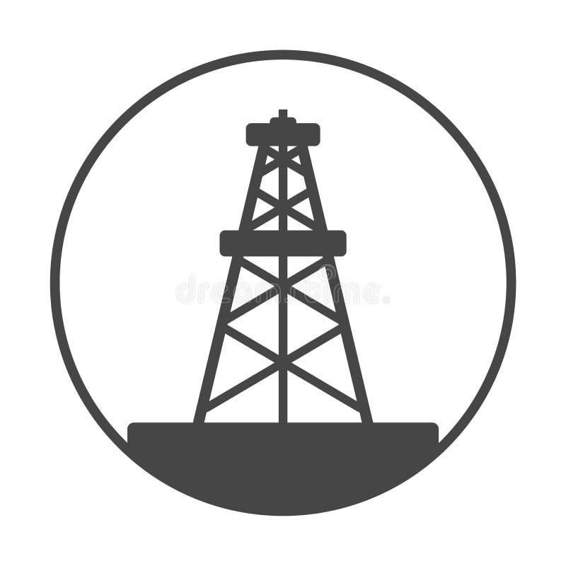 Impianto offshore, icona del Gusher dell'olio illustrazione di stock